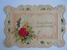 Mignonnette Ajourée Voeux Bateaux Fleurs Rose En Tissu Relief Mignonette 11 X 7,5 Cm - Autres