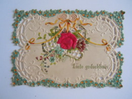 Mignonnette Ajourée Voeux Fleurs Rose En Tissu Relief Mignonette 11 X 7,5 Cm - Autres