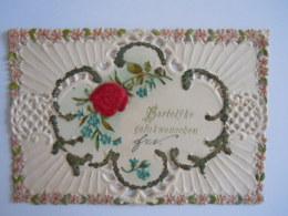 Mignonnette Ajourée Voeux Fleurs Rose En Tissu Relief Paillettes Mignonette 11,5 X 8 Cm - Fancy Cards
