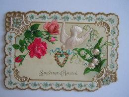 Mignonnette Ajourée Voeux Fleurs Rose Muguets Colombe En Tissu Relief Mignonette 11 X 7,5 Cm Coin Abimé - Fancy Cards