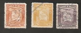 Bo4-9-2. America Correos De BOLIVIA 20 50 Centavos 1 1/2 Boliviano 1930 1935 Airmail Map Of Bolivia With Airplane - Bolivia