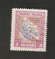 Bo4-10-2. America Correos De BOLIVIA AEREO 3 Bolivianos 1925 1945 Airmail Map Of Bolivia - Bolivia