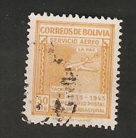 Bo4-11-1. America Correos De BOLIVIA AEREO 1935 1945 Airmail Map Of Bolivia With Airplane - Bolivia