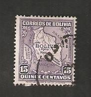 Bo4-11-2. America Correos De BOLIVIA 15 Centavos Map Of Bolivia With Airplane - Bolivia