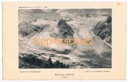 003 Rummelspacher Berliner Hütte Zillertaler Alpen Lichtdruck 1894!! - Estampes