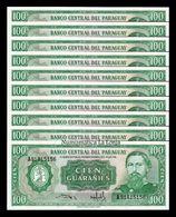Paraguay Lot Bundle 10 Banknotes 100 Guaraníes L.1952 (1982) Pick 205 Sign 3 UNC - Paraguay