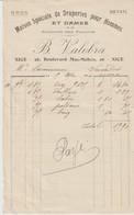 1914 - B. VALOBRA - NICE - 26 Bd MAC MAHON - FACTURE - MAISON SPÉCIALE DE DRAPERIES POUR HOMME ET DAMES - GROS - DÉTAIL - France