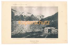 011 Glocknerhaus Großglockner Gletscher Alpenverein Berghütte Kunstblatt Lichtdruck 1894!! - Unclassified