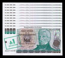Argentina Lot Bundle 10 Banknotes 1 Austral 1985 Pick 320 SC UNC - Argentina