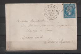 Lettre De Paris 1865 Pour La Seine Et Marne Oblit Etoile 28 Rue Cardinal Lemoine - Storia Postale