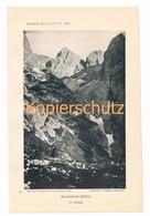 013-2 Grasleitenhütte Dolomiten Sektion Leipzig Alpenverein Berghütte Kunstblatt Lichtdruck 1894!! - Unclassified