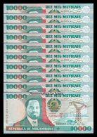 Mozambique Lot Bundle 10 Banknotes 10000 Meticais 1991 Pick 137 SC UNC - Mozambique