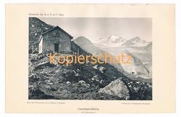 015 Jamtalhütte Silvretta Alpen Gletscher Alpenverein Berghütte Kunstblatt Lichtdruck 1894!! - Unclassified