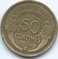 France - 3rd Republic - 1939 B - 50 Centimes - Brussels Mint - KM894.2 - G. 50 Centimes