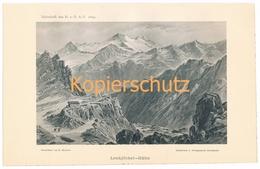 018 Heubner Lenkjöchlhütte Rifugio Giogo Lungo Alpen Lichtdruck 1894!! - Estampes