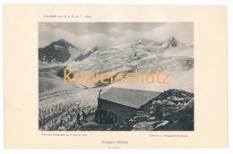 021 Prager Hütte Gletscher Bergsteiger Alpenverein Berghütte Kunstblatt Lichtdruck 1894!! - Unclassified