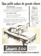 "PUB VEHICULES  "" VESPA 400 "" 1957 ( 2 ) - Other"