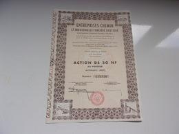 ENTREPRISES CHEMIN Et Industrielle Foncière Routière (50 NF) - Actions & Titres