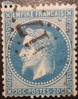 FRANCE Y&T N°29Bc Napoléon 20c Bleu. Variété Au Abeilles. Oblitéré Losange GC N°1017 Chinon - 1863-1870 Napoleon III With Laurels