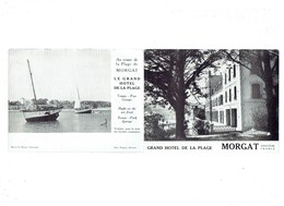 Double Carte Publicité MORGAT Grand Hôtel De La Plage - Tennis Parc Garage - Publicités