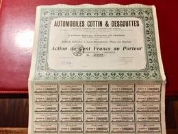 AUTOMOBILES   COTTIN  &  DESGOUTTES  ------Action  De  100 Frs - Automobile