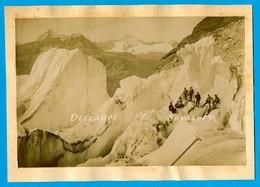 Suisse Valais Gletsch * Séracs Glacier Du Rhône, Alpinistes * Photo Albumine Vers 1880 - Voir Scans - Photographs