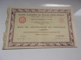 ALSACIENNE DES TISSAGES GROS ROMAN (wesserling , Haut Rhin) 1935 - Actions & Titres
