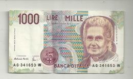 1000  LIRE  BANCA  D'ITALIA   N.  AG341653 W - [ 2] 1946-… : République