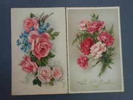 2 Cp Couleur Vive Sainte-Barbe & Bouquet De Roses. - Autres