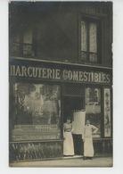 COMMERCE - PHOTOS - PARIS BATIGNOLLES - Carte Photo De La Maison DAVID - CHARCUTERIE COMESTIBLES, Rue De Tocqueville - Magasins
