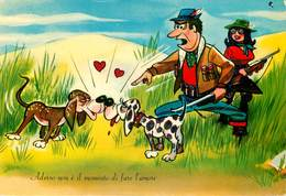 Sports - Chasse - Chasseurs - Chasseur - Humour - Humoristique - Chiens - Chien - Dogs - Dog - Italie - Carte Italienne - Chasse
