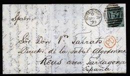 A6207) UK Grossbritannien Brief Bute-Docks 09/02/70 N. Spanien Espagna - 1840-1901 (Viktoria)