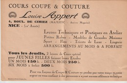 LOUISE APPERT - COURS COUPE & COUTURE - NICE - 4 Bd DE CIMIEZ - MAJESTIC - BLANCHET - 12° ANNEE - Publicités