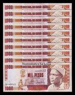 Guinea Bissau Lot Bundle 10 Banknotes 1000 Pesos 1990 Pick 13a SC UNC - Guinea-Bissau