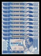 Guinea Bissau Lot Bundle 10 Banknotes 500 Pesos 1990 Pick 12 SC UNC - Guinea-Bissau