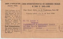 CAISSE INTERDÉPARTEMENTALE DES ASSURANCES SOCIALES DE SEINE ET SEINE & OISE - CARTE D'AFFILIATION - 1932 - PARIS - - Documents Historiques