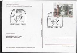 """ANNULLO SPECIALE - MACERATA 08.10.1983 - MOSTRA """"VITE E VINO"""" SU CARTOLINA UFFICIALE - 1981-90: Storia Postale"""