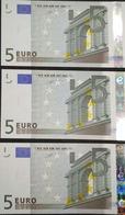 Trio Correlativ EURO FRANCE 5 EUROS L010, DUISEMBERG, UNCIRCULATED - EURO