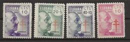 R04.G4/ SPAIN 1940, EDIIFL 936/39 MNH**, PRO TUBERCULOSOS, GENERAL FRANCO - 1931-Hoy: 2ª República - ... Juan Carlos I