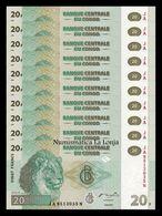 Congo Lot Bundle 10 Banknotes 20 Francs 2003 Pick 94 SC UNC - República Democrática Del Congo & Zaire