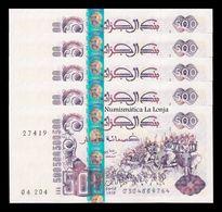 Argelia Algeria Lot Bundle 5 Banknotes 500 Dinars 1998 Pick 141 SC UNC - Algeria