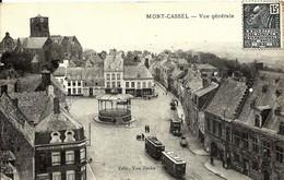 CPA  MONT CASSEL Vue Generale , Place Centrale Kiosque à Musique , Tramway , Camion - Cassel