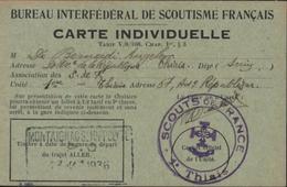 Carte Individuelle Bureau Interfédéral Scoutisme Français Cachet Scouts De France Thiais + Montaignac St Hippolyte 1936 - Postmark Collection (Covers)