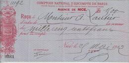 COMPTOIR NATIONAL D'ESCOMPTE DE PARIS - AGENCE DE NICE - REÇU LA SOMME DE MILLE CINQ CENTS FRANCS - 1912 - Chèques & Chèques De Voyage