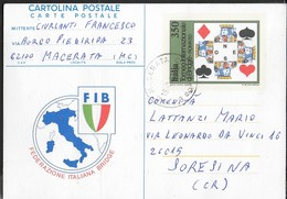 CARTOLINA POSTALE - FIB - FEDERAZIONE ITALIANA BRIDGE - VIAGGIATA DA MACERATA - Giochi