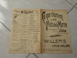 Ce Que Chantent Les Flots De La Marne -(Paroles A. Willemes)-(Musique J. Lenoir & Willems) Partition 1916 - Liederbücher