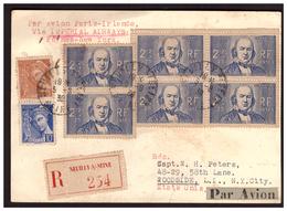 Bloc De 4 Du N° 439 Sur C P Rec. De NEUILLY Pour NEW YORK Du 3.8.39. - Storia Postale