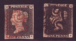 Grande Bretagne, GREAT BRITAIN - N° 1  Black Penny ( Les 2 Timbres ) Obliteration Croix De Malte 1 Rouge - 1  Noire - 1840-1901 (Victoria)