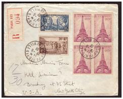 Bloc De 4 Du N° 429 Sur Lettre  Rec. De PARIS Pour NEW YORK Du 19.5.39. - France