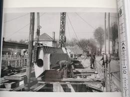 Photo Original 1951, Leie, Stuw Van Balgerhoeke, Monteeren Der Schuiven - Autres